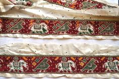 OOAK Ikat hand embroidered sari border Vintage sari border by the yard by VedahDesigns on Etsy