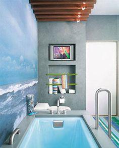 Grey wall and wood feel in bathroom
