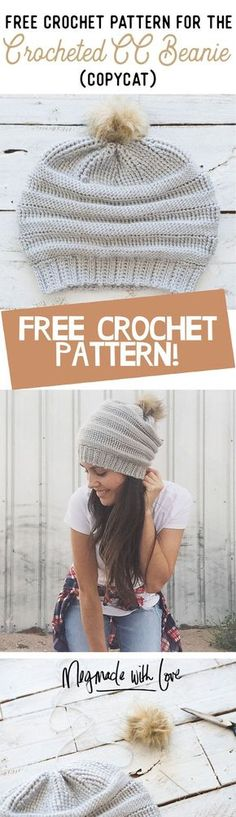 Free Crochet Pattern for the Copycat Crocheted CC Beanie - Megmade with Love
