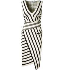 Altuzarra Black And White Striped Stretch Cotton Crepe Asymmetrical Dress