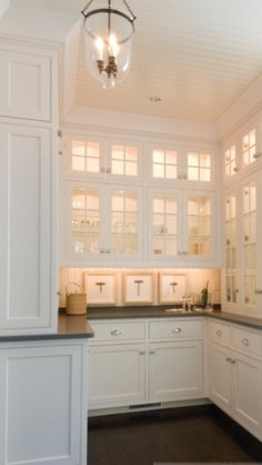 Butler's pantry with great glass doors & soapstone counter