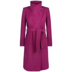 Damsel in a dress Flavia Coat , Pink (19.665 RUB) ❤ liked on Polyvore featuring outerwear, coats, pink, asymmetrical coat, pink coat, wrap coat, knee length coat and purple coat