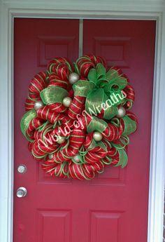 christmas deco mesh wreath 9500 via etsy deco wreaths mesh ribbon wreaths - Decorating A Christmas Wreath With Mesh Ribbon