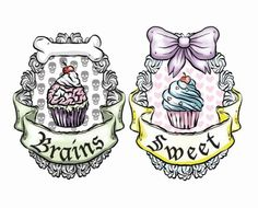 not the words in them or the bone maybe.do a skull cross bone. But i like the bow cupcake one