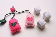 Pink Felt Tea Bags & Sugar Cubes for Play Tea Party Handmade via Etsy