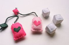 Pink Felt Tea Bags & Sugar Cubes for Play Tea Party Handmade via Etsy