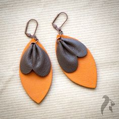 Drape leather earrings by NfSLeather on Etsy, £15.00