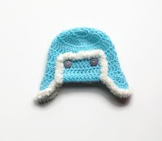 Turquoise baby aviator hat crochet baby boy flap by BabyBunnies4