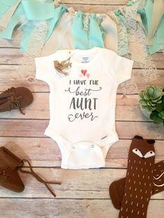 Aunt Onesie® Unique Baby Gift Unisex Baby by BittyandBoho on Etsy, Aunt Baby Gift, Best Aunt Ever