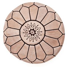 Handmade Moroccan Leather Pouf, Neutral with brown trim $120.00