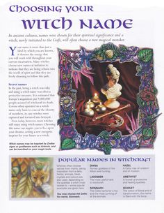 Book of Shadows:  #BOS Choosing Your Witch Name page.
