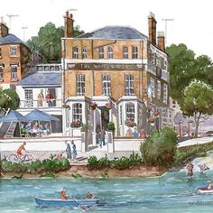 A beautiful #watercolour #painting of #TheWhiteCrossPub in Richmond upon Thames by @liams_art #architecture #people #figure #buildings #loose #reportage #commission #drawings #momento http://ow.ly/9Lxu308Bzi2