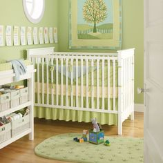 Sweet green color. Also like the baskets on the changing table.