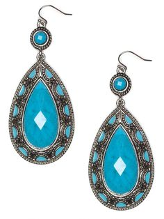 turquoise drop earrings by teresa.skaggs
