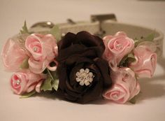 Brown Light Pink Wedding Dog Collar. Brown and Light by LADogStore, $47.99