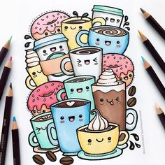 I finally got round to scanning my Kawaii Coffee doodle and turning it into a colouring page, whoo-hoo! If you'd like to colour this…