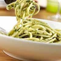 Spaghetti with Basil Pesto Sauce - No olive oil is needed to make this deliciously easy pasta sauce, prepared in a blender with fresh basil leaves, garlic and flavorful chicken broth. Italian Recipes, New Recipes, Favorite Recipes, Healthy Recipes, Basil Pesto Sauce, Basil Pasta, Pesto Pasta, Pasta Recipes, Cooking Recipes
