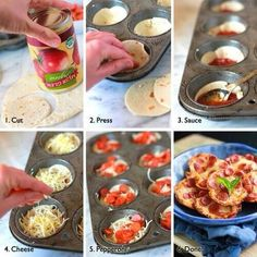 Cut dough, press into a muffin dish, add sauce, then pepperoni . Cute little mini pizza bites! Bake on 350 for 20 min. Mini Pizzas, Pizza Bites, Pizza Cups, Bagel Bites, Taco Bites, Think Food, Love Food, Comida Diy, Do It Yourself Food