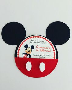 Mickey Mouse Invitation- Mickey Mouse Birthday Invitation- Mickey Mouse Head Invitation by on Etsy Mickey 1st Birthdays, Mickey Mouse Birthday Cake, Mickey Mouse Clubhouse Party, Mickey Mouse Parties, Mickey Birthday, Mickey Party, 2nd Birthday Parties, Disney Parties, Mouse Cake