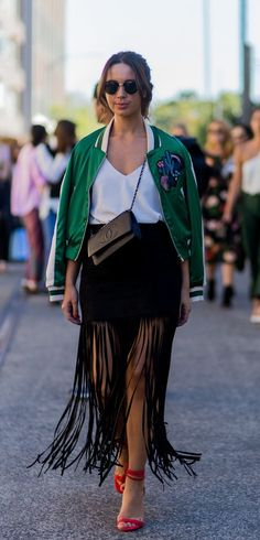 Take Out Your Old Boho Skirt and Refresh It With a Modern Bomber