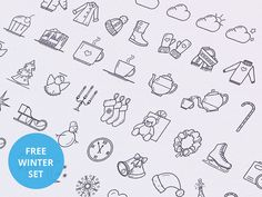 A set of35wonderful wintericonscreated with vector shapes to complete the summer icon set. Free PSD and AI files released byTamara.