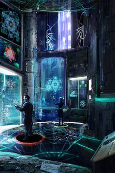 cyberpunk art--control room of Jackson? Arte Cyberpunk, Cyberpunk City, Futuristic City, Futuristic Technology, Futuristic Architecture, Technology News, Arte Sci Fi, Sci Fi Art, New Retro Wave