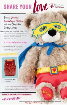 Scentsy 2017 spring Summer new release Charitable Cause Scentsy Buddy. This Charitable Cause Scentsy Buddy is Sebastian the Supperbuddy and $8.00 of the $35.00 cost goes to support Shriners Hospital for Children. He is ready to fly into your heart March 1, 2017 and available at https://postalgirl.scentsy