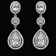 Georgeous Dramatic Luxe Cubic Zirconia Dangle Bridal Earrings (Sparkle-2088-U)
