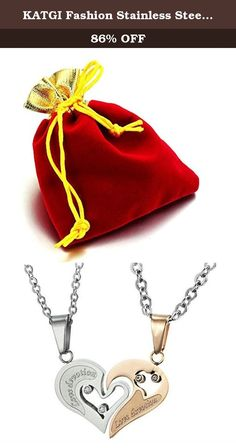 "KATGI Fashion Stainless Steel ""Love Devotion"" Heart Lover Couple Pendant Necklace (Set of 2). Looking to buy a lasting memorable gift for that special someone or for yourself? Give this quality fashion jewelry as a sweet and sentimental special gift to a loved one to commemorate a meaningful journey or use it as a beautiful personal piece that would complement your style."