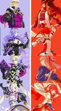 Fire Emblem Fates - Nohr: Xander, Camilla, Leo, Elise - Hoshido: Ryoma, Hinoka, Takumi, Sakura