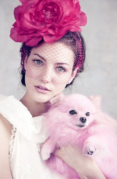 pretty girl with flowers in her hair and pink puppy pom Amor Animal, Monday Inspiration, Pink Dog, Everything Pink, Color Rosa, Girls Best Friend, Beauty And The Beast, Her Hair, Pretty In Pink