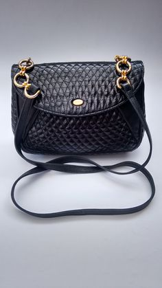Bally Vintage Black Quilted Leather Shoulder Bag. Authentic designer purse.  Bally cee5a36dc1c12