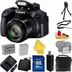 Introducing Canon Powershot SX60 161MP Digital Camera 65x Optical Zoom Lens 3inch LCD Tilt Screen  Case  32 GB Card  Reader  6pc Starter Set  Extra Battery. Great Product and follow us to get more updates!