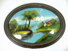 VICTORIAN REVERSE PAINTING ON GLASS