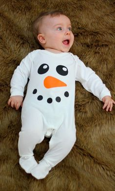 Christmas Baby Clothes   Snowman Baby Sleepsuit   Christmas Ideas   Baby Costume  Baby Boy or Girl - www.babymoos.com #babyclothes