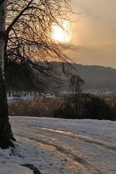 "winter scene in the ""valley of the mills"" park, Chisinau, Moldova"