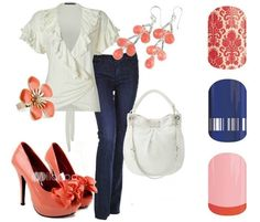 Fun fashion shown with coordinating Jamberry nail wraps.