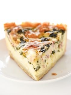 Spinach, Leek and Bacon Quiche | http://foodiecrush.com