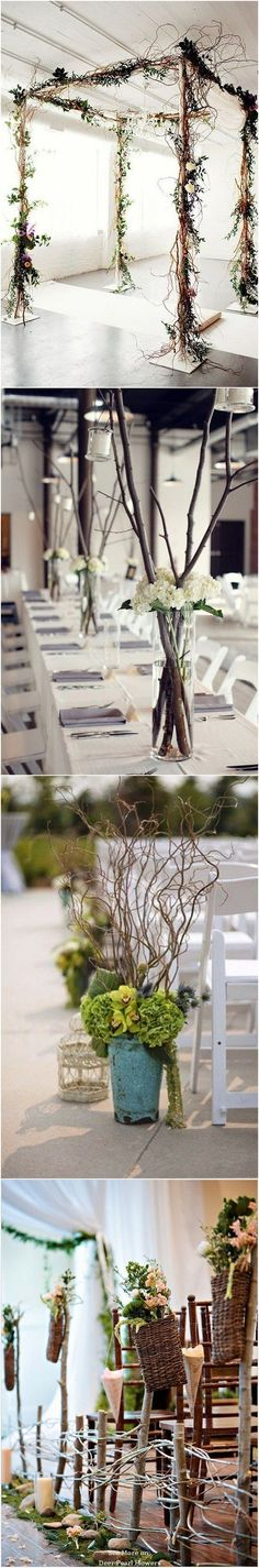 Rustic Twigs and Branches Wedding Ideas / http://www.deerpearlflowers.com/twigs-and-branches-wedding-ideas/ #weddingdresses
