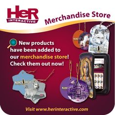 New products have been added to our merchandise store! Now included are Kindle Fire cases, iPhone 3 cases, Christmas ornaments, place mats, aprons, door hangers, bookmarks, dog tags, and posters!