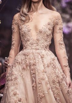 paolo sebastian spring 2018 couture long sleeves illusion jewel v neck heavily embellished bodice romantic blush color a line wedding dress zv -- Paolo Sebastian Spring 2018 Couture Collection Fairytale Gown, Evening Dresses, Prom Dresses, Long Dresses, Collection Couture, Bridal Collection, Style Couture, Couture Details, Couture Week