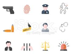 Flat Color Icons - Crime royalty-free stock vector art