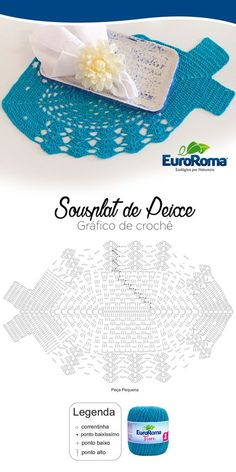 Sousplat de Peixe decorativo utilizando o EuroRoma Fiore na cor Azul Piscina. Crochet Snowflake Pattern, Crochet Snowflakes, Crochet Mandala, Crochet Motif, Crochet Doilies, Crochet Stitches, Crochet Patterns, Ravelry Crochet, Filet Crochet
