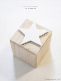 DIY block stamp via Creature Comforts Craft Gifts, Diy Gifts, Diy Projects To Try, Craft Projects, Cool Diy, Easy Diy, Stamp Printing, Ideias Diy, Twinkle Twinkle Little Star