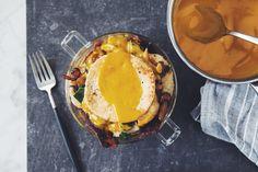 Vegan biscuit, bacon, and egg yolk breakfasdt trifle