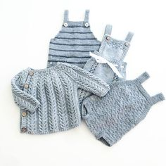 Grå babystrikk  #pocketplaysuit #rumper #babydrakt #snoningstrøje #ministrikk #strikktilsmårollinger #knit #instaknit #babyknit #strikke #strikkemamma #babystrikk #tinesting Knitting For Kids, Baby Knitting Patterns, Baby Patterns, Knitting Projects, Stitch Patterns, Newborn Outfits, Baby Boy Outfits, Baby Barn, Baby Pullover