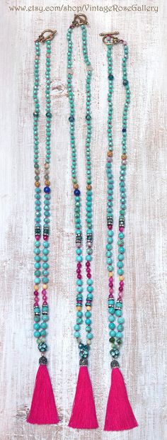 Silk Tassel Necklace Colourful Tassel Necklace Turquoise - The latest in Bohemian Fashion! These literally go viral! Bohemian Jewellery, Tassel Jewelry, Bohemian Fashion, Etsy Jewelry, Beaded Jewelry, Diy Necklace Bracelet, Tassel Necklace, Necklaces, Pink Agate