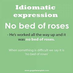 English #idiomatic #expression [no bed of roses] - Repinned by Chesapeake College Adult Ed. We offer free classes on the Eastern Shore of MD to help you earn your GED - H.S. Diploma or Learn English (ESL) . For GED classes contact Danielle Thomas 410-829-6043 dthomas@chesapeake.edu For ESL classes contact Karen Luceti - 410-443-1163 Kluceti@chesapeake.edu . www.chesapeake.edu