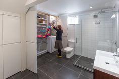 Laundry behind bifolds in the bathroom. Sally Steer Design Ltd. Laundry Design, First Home, Sally, Toilet, Bathtub, Bathroom, Ideas, Standing Bath, Washroom
