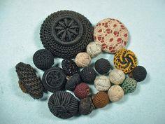 Antique Vintage Crochet Fabric Weave Buttons Lot